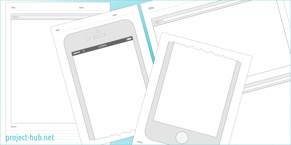 Wireframe Templates : browser, iPhone and iPad